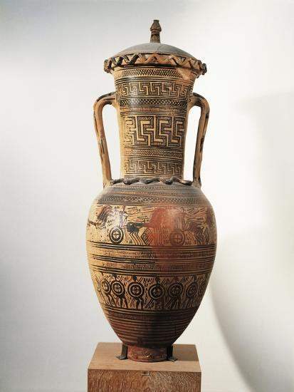 Geometric Pottery, Amphora, Figured and Meander Ornamentation--Giclee Print