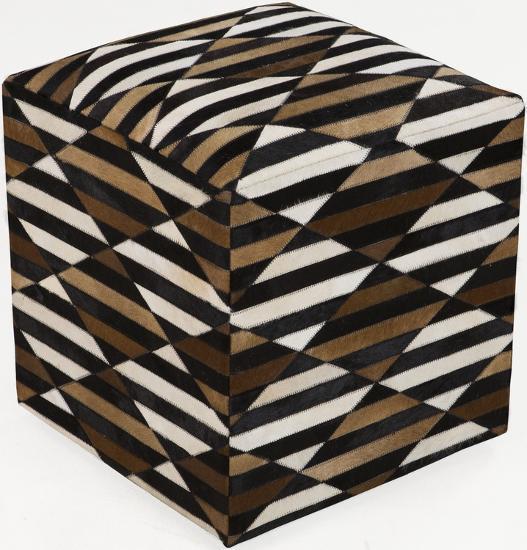 Geometric Stripe Leather Cube Pouf - Cocoa--Home Accessories