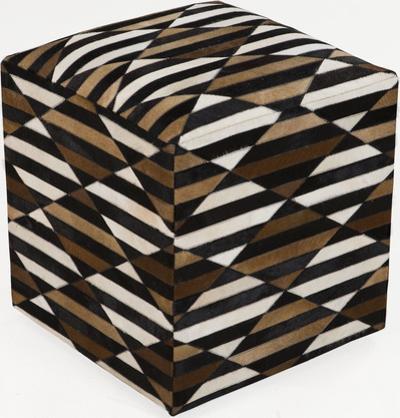 Geometric Stripe Leather Cube Pouf - Cocoa