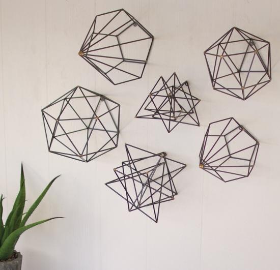 Geometric Wire Art Set--Alternative Wall Decor