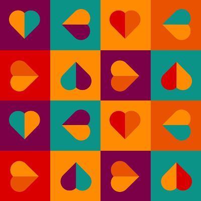 Geometrical Pattern With Hearts-Slanapotam-Art Print