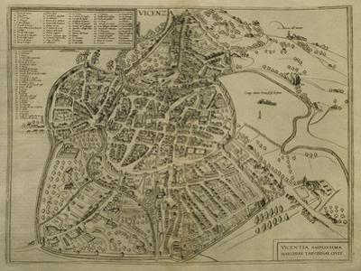 Map of Vicenza, Illustration from 'Civitates Orbis Terrarum', C.1580
