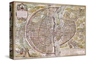 Paris Map, 1581 by Georg Braun