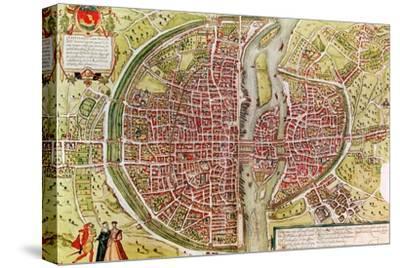 "Paris Map from ""Civitates Orbis Terrarrum"" by Georg Braun and Franz Hogenbergh, French, 1572-1617"