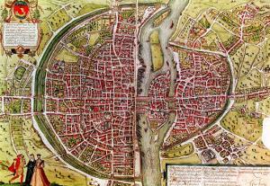 """Paris Map from """"Civitates Orbis Terrarrum"""" by Georg Braun and Franz Hogenbergh, French, 1572-1617 by Georg Braun"""