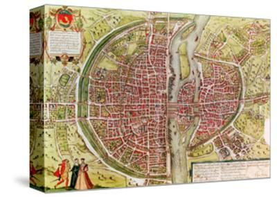 "Paris Map from ""Civitates Orbis Terrarrum"" by Georg Braun and Franz Hogenbergh, French, 1572-1617"