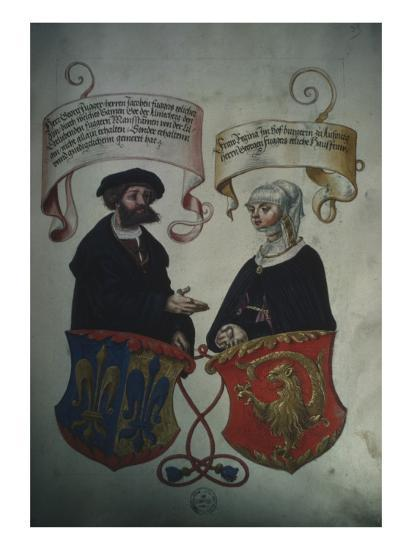 Georg Fugger and His Wife Regina Imhoff, from 'Geheim Ehrenbuch Des Fuggerschen Geschlechts'-German School-Giclee Print