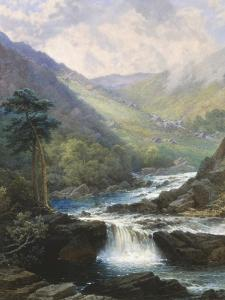 Romantic Landscape with Waterfall by George Beetholme