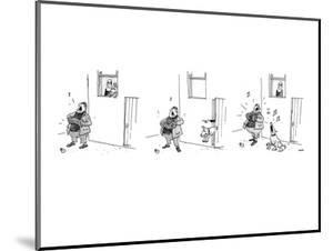 3 drawings. A man plays a accordion beneath a window.  The man in window l? - New Yorker Cartoon by George Booth
