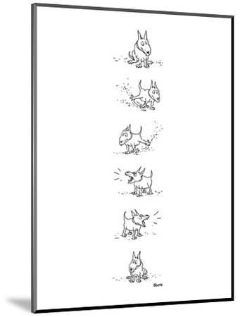 Dog sits, scratches the ground, barks and sits again. - New Yorker Cartoon