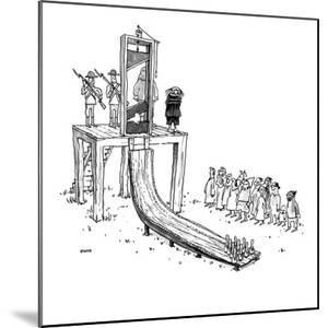 Executioner is about to chop off man's head with guillotine; when the pris? - New Yorker Cartoon by George Booth