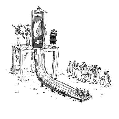 Executioner is about to chop off man's head with guillotine; when the pris? - New Yorker Cartoon