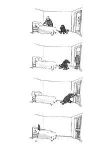 Four drawings; Man makes bed, as dog watches.  Man leaves room. Dog locks ? - New Yorker Cartoon by George Booth