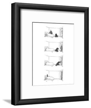 Four drawings; Man makes bed, as dog watches.  Man leaves room. Dog locks … - New Yorker Cartoon