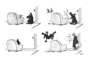 Four panel sequence in which a cat sleeping in an easy chair is frightened? - New Yorker Cartoon by George Booth