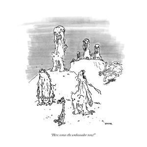 """""""Here comes the ambassador now!"""" - New Yorker Cartoon by George Booth"""