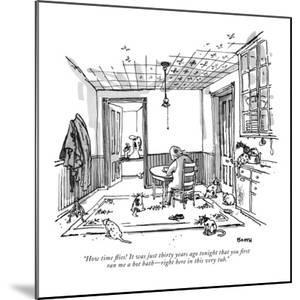 """""""How time flies! It was just thirty years ago tonight that you first ran m?"""" - New Yorker Cartoon by George Booth"""