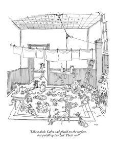 """""""Like a duck. Calm and placid on the surface, but paddling like hell. That?"""" - New Yorker Cartoon by George Booth"""