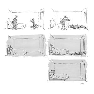 Man preparing to go to bed tells big dog to leave room; man goes to sleep;? - New Yorker Cartoon by George Booth