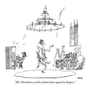 """""""Mrs. Porterhouse and her pianist have agreed to disagree."""" - New Yorker Cartoon by George Booth"""