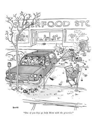 """One of you boys go help Mom with the groceries."" - New Yorker Cartoon"