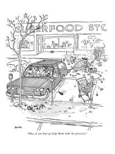 """One of you boys go help Mom with the groceries."" - New Yorker Cartoon by George Booth"