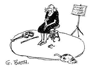 Saddened woman, with violin resting on floor, sits quietly on stool. - New Yorker Cartoon by George Booth