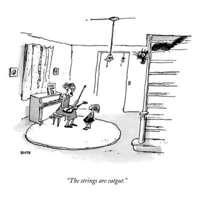 """The strings are catgut."" - New Yorker Cartoon by George Booth"