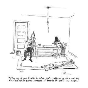 """""""They say if you breathe in when you're supposed to blow out and blow out ?"""" - New Yorker Cartoon by George Booth"""