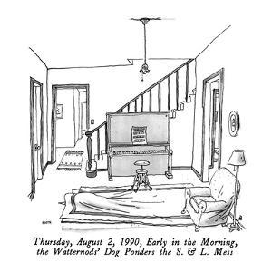 Thursday, August 2, 1990, Early in the Morning, the Watternods' Dog Ponder? - New Yorker Cartoon by George Booth