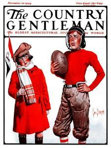 """""""Young Football Player,"""" Country Gentleman Cover, November 22, 1924 by George Brehm"""