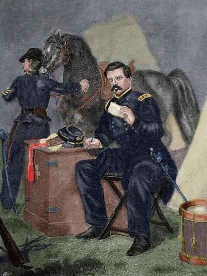 George Brinton Mcclellan (1826 Ai? 1885). Militar (American Civil War).. 19th Century. Coloured--Giclee Print