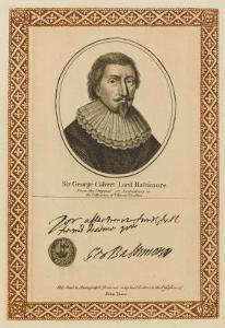 George Calvert, Lord Baltimore Statesman and Governor of Newfoundland - with His Autograph