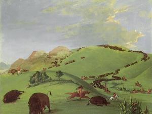 Buffalo Chase, Mouth of the Yellowstone, 1833 by George Catlin