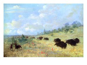 Catlin: Elk and Buffalo by George Catlin