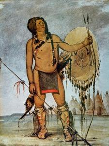 Comanche Warrior with a Shield, Lance and Bow and Arrows, c.1835 by George Catlin