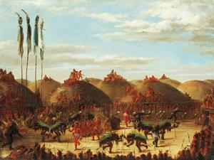 Dance of Buffalo at Mandan Okipa Ceremony by George Catlin