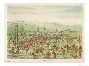 Large Crowd of Native Americans Play Lacrosse by George Catlin