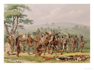 Mandan Archery Contest, circa 1832 by George Catlin