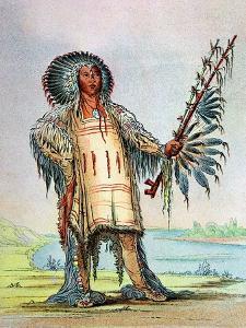 Mandan Indian Ha-Na-Tah-Muah (Wolf Chief) by George Catlin