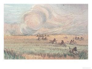 Missouri Prairie Fire by George Catlin