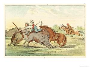 Native American Hunting Buffalo on Horseback by George Catlin