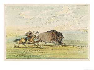 Native American Sioux Hunting Buffalo on Horseback by George Catlin