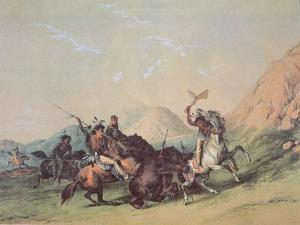Native Americans Killing a Bear by George Catlin