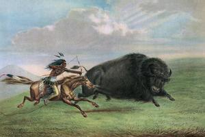 Print after Buffalo Hunt by George Catlin, C.1920 by George Catlin