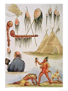 Scalping and Decorative Use of Scalps by George Catlin