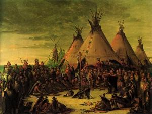 Sioux Council, 1847 by George Catlin