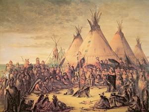 Sioux Indian Council, 1847 by George Catlin
