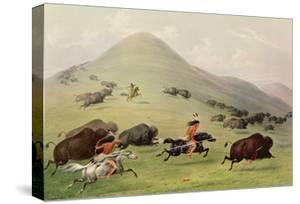 The Buffalo Hunt, C.1832 (Coloured Engraving) by George Catlin