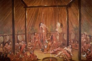 The O-Kee-Pa Self-Torture Religious Ceremony of the Mandan Tribe, from a Painting of c.1835 by George Catlin